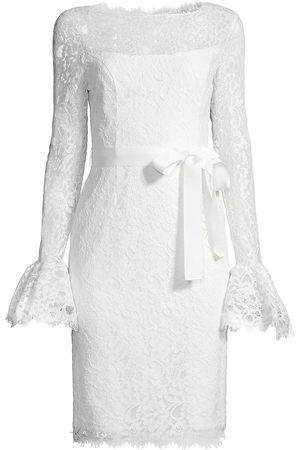 Shani Women's Lace Bell-Sleeve Sheath Dress - Ivory - Size 16