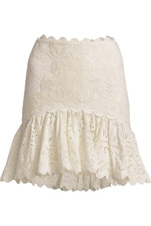 Acler Women's Broderie Flounce Skirt - Natural - Size 10