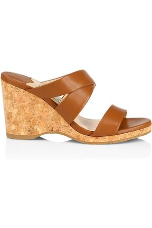 Jimmy Choo Women's Sue Leather Cork Wedge Sandals - Tan - Size 10.5
