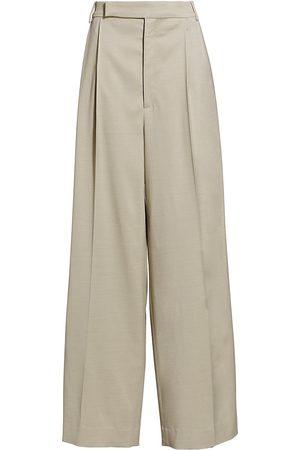 ST. JOHN Women's King Twill Wide-Leg Trousers - Steel Grey - Size 4
