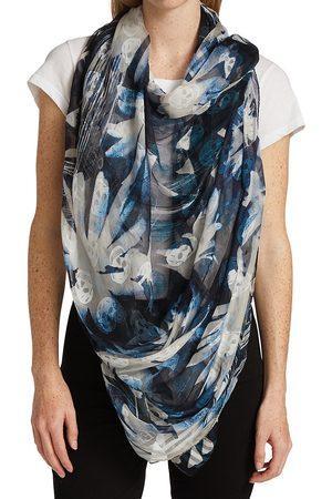 Alexander McQueen Women Scarves - Women's Solarized Floral Scarf - Navy Sky