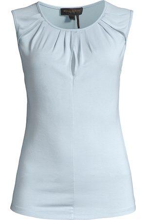 Donna Karan Women's Rayon Jersey Slit Top - Bluestone - Size XS