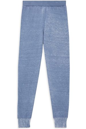 MINNIE ROSE Little Girl's and Girl's Reverse Printed Frayed Joggers - Denim - Size 10