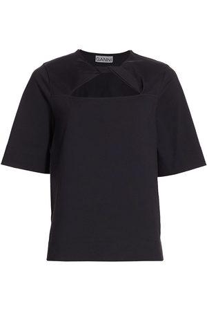 Ganni Women's Twist-Front Cotton Jersey T-Shirt - Phantom - Size Large