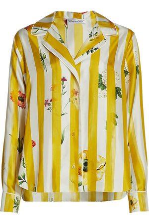 Oscar de la Renta Women Blouses - Women's Floral Stripe Silk Blouse - Ochre Multi - Size 10