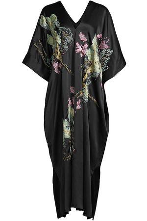 Natori Cape-Sleeve Silk Caftan