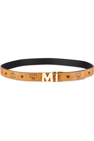 MCM Women Belts - Women's Logo Belt - Cognac