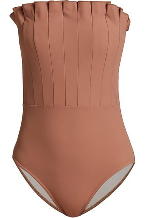 Karla Colletto Women Swimsuits - Women's Lana Pleated Bandeau One-Piece Swimsuit - Fawn - Size 12