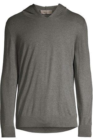 corneliani Men's Sleek Simple Cashmere-Cotton Hoodie - Charcoal - Size 42