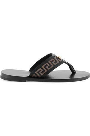 VERSACE Men's Nastro Leather Thong Sandals - Nero Oro - Size 9
