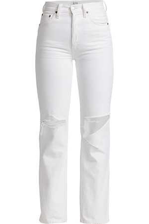 RE/DONE Women High Waisted - Women's 90s High-Rise Loose Jeans - With Rips - Size 32