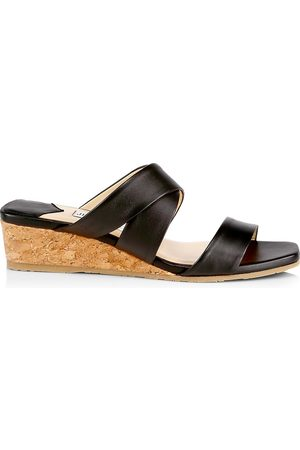 Jimmy Choo Women's Samara Leather Wedge Mules - - Size 9
