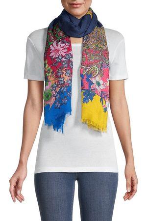 Etro Women Scarves - Women's Delhy Paisley-Floral Patchwork Scarf - Navy Multi