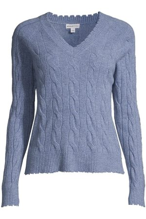 MINNIE ROSE Women's Distressed Cable-Knit Sweater - Denim - Size Large