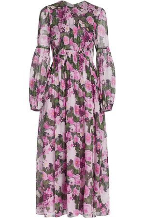 LELA ROSE Women's Floral Printed Voile Ruched Waist Midi Dress - Lilac Multi - Size 4