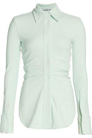 Alexander Wang Women's Ruched Shirt - Glacier - Size 10