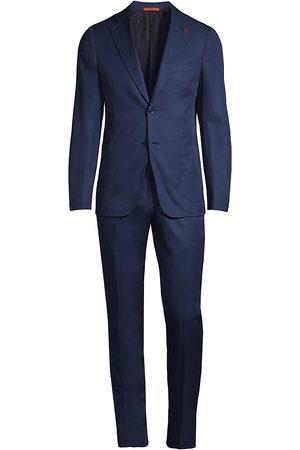 ISAIA Men Suits - Men's Cotton Suit - Navy - Size 40