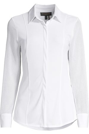 Donna Karan Women Long sleeves - Women's Perforated Long-Sleeve Shirt - - Size XL