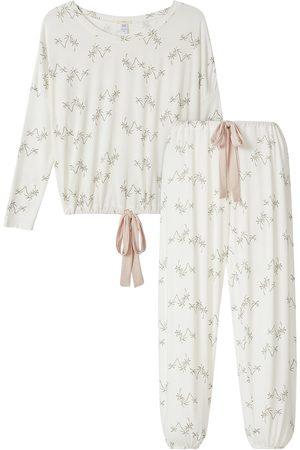 Eberjey Women's Giving Palm 2-Piece Long Pajama Set - Salvador Palm Antique Rose - Size Large