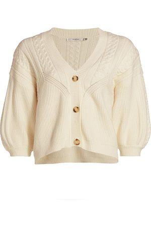Gestuz Women Cardigans - Women's Soley Puff-Sleeve Knit Cardigan - Off - Size XL