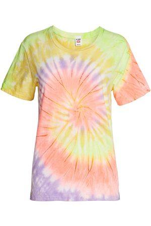 RE/DONE Women Sports T-shirts - Women's 70s Tie-Dye Loose-Fit T-Shirt - Neon Spiral Dye - Size XS