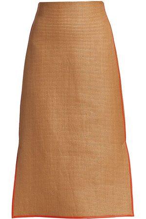 AKRIS Women Pencil Skirts - Women's Raffia Leather-Piped Pencil Skirt - Cardboard - Size 6