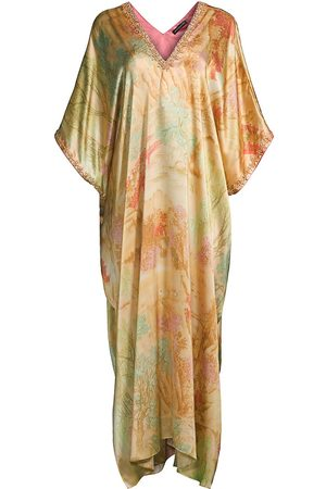 Natori Women Socks - Cape-Sleeve Silk Caftan