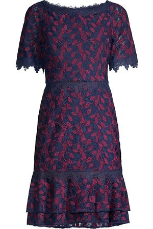 Shani Women Strapless Dresses - Women's Off-the-Shoulder Lace Dress - Navy Berry - Size 14