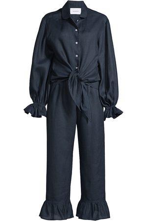 Sleeper Women Socks - Women's Rumba 2-Piece Linen Pajama Set - Navy - Size XL