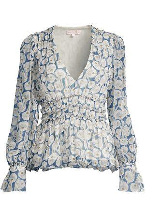 REBECCA TAYLOR Women Blouses - Women's Deco Fleur Silk Blouse - Electric Combo - Size 12