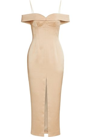 Rasario Women's Off-the-Shoulder Midi Cocktail Dress - Natural - Size 4