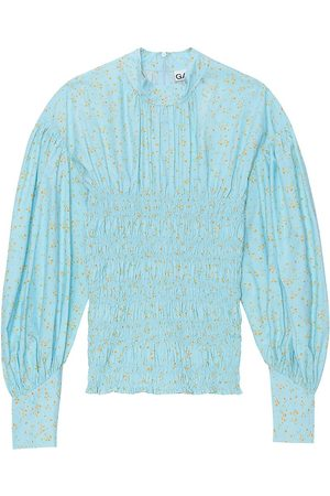 Ganni Women's Floral-Print Puff-Sleeve Smocked Top - Cory Dalis - Size 2