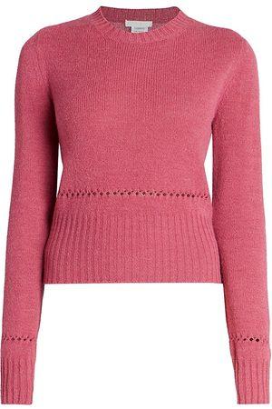 Chloé Women Tops - Women's Crewneck Wool Blend Knit Pullover - Burgundy - Size XS