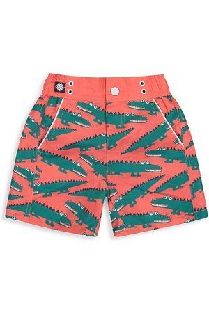 Andy & Evan Little Boy's Green Alligator Swim Trunks - Salmon - Size 3