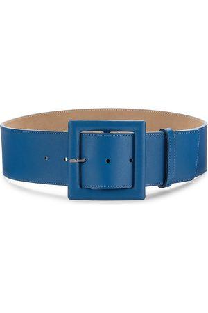 Carolina Herrera Women Belts - Women's Square Buckle Leather Belt - Baltic - Size XL