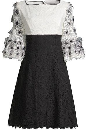 Shani Women's Floral Appliqué Bell-Sleeve Dress - Ivory - Size 14