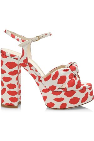 Saint Laurent Women's Bianca Knotted Lip-Print Canvas Platform Sandals - Rose - Size 11.5