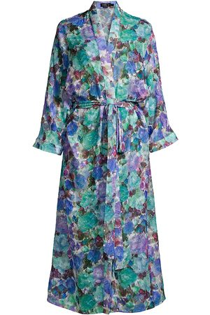 PATBO Women Bathrobes - Women's Blossom Beach Robe - Violet - Size Large