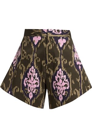 No Pise La Grama Women Sports Shorts - Women's Chaguaramo Damasque Shorts - Ikat Olive - Size 2