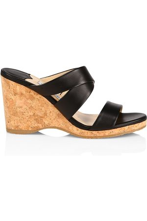 Jimmy Choo Women's Sue Leather Cork Wedge Sandals - - Size 8.5