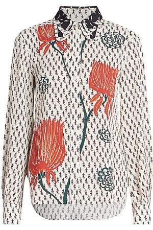 Chloé Women Blouses - Women's Tulip Print Crepe Blouse - Seed Pearl - Size 12
