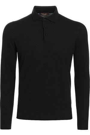Loro Piana Men Polo Shirts - Men's Long-Sleeve Cashmere Polo - - Size 46
