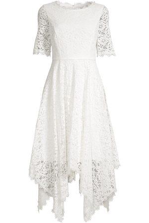 Shani Women Printed Dresses - Women's Floral Lace Midi Dress - Ivory - Size 14