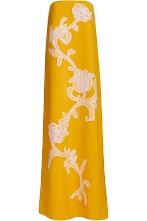LELA ROSE Women's Floral Embroidered Fluid Crepe Strapless Gown - Goldenrod - Size 4