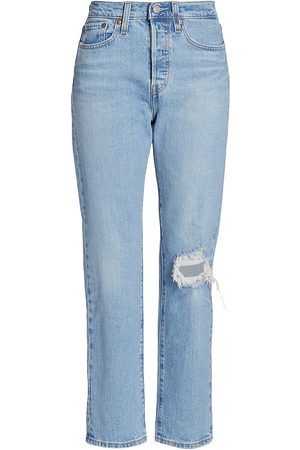 Levi's Women High Waisted - Women's Wedgie High-Rise Distressed Straight Ankle Jeans - - Size 31