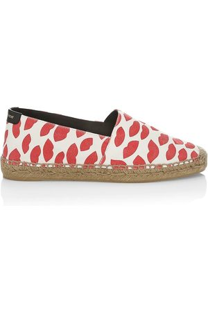 Saint Laurent Women's Lip-Print Canvas Espadrilles - Rose - Size 5