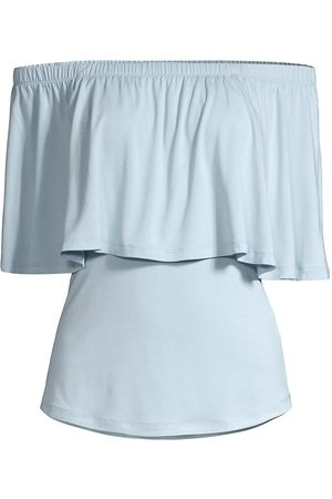 Donna Karan Women Tops - Women's Rayon Jersey Ruffle Top - Bluestone - Size Medium