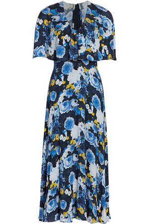 LELA ROSE Women's Floral Printed Georgette Capelet Midi Dress - French Multi - Size 8
