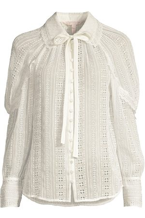 REBECCA TAYLOR Women's Geo Eyelet Silk Blouse - Snow - Size XS