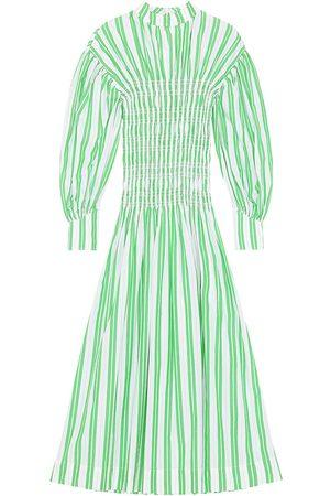 Ganni Women's Striped Smocked Long-Sleeve Dress - Kelly - Size 10